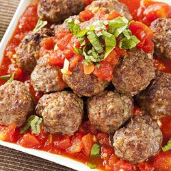 Turkey Meatballs in Red Pepper-Tomato Sauce