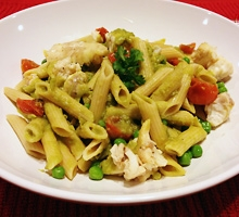 Whole Wheat Penne with Sea Bass and Pea Sauce